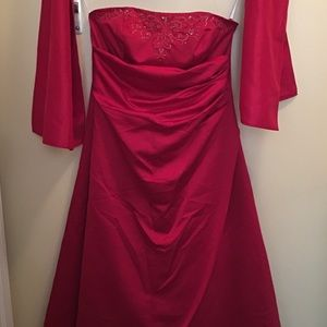 David's Bridal Bridesmaid Dress/Evening Gown, red